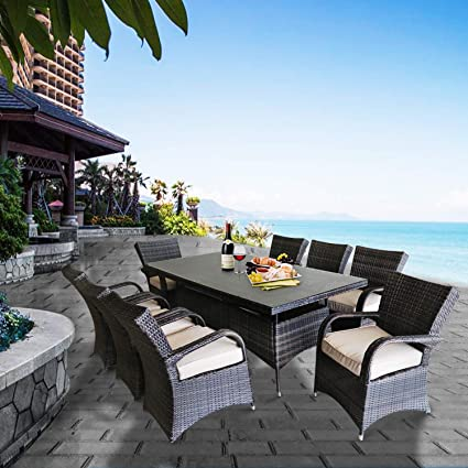 Superb Patioption 9 Pieces 8 Seats Outdoor Patio Furniture Dining Table Sets All Weather Rattan Chairs With Washable Beige Cushions And Wicker Rectangle Home Interior And Landscaping Ponolsignezvosmurscom