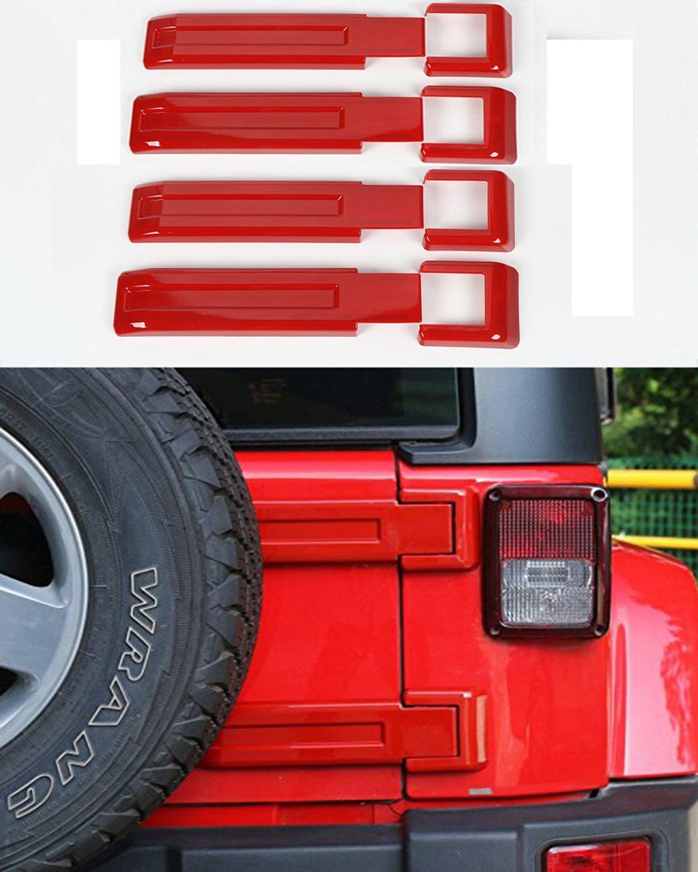 Hooke Road Red Spare Tire Bracket Hinge Cover Trim for 2007-2018 Jeep JK Wrangler & Unlimited - 4PCS