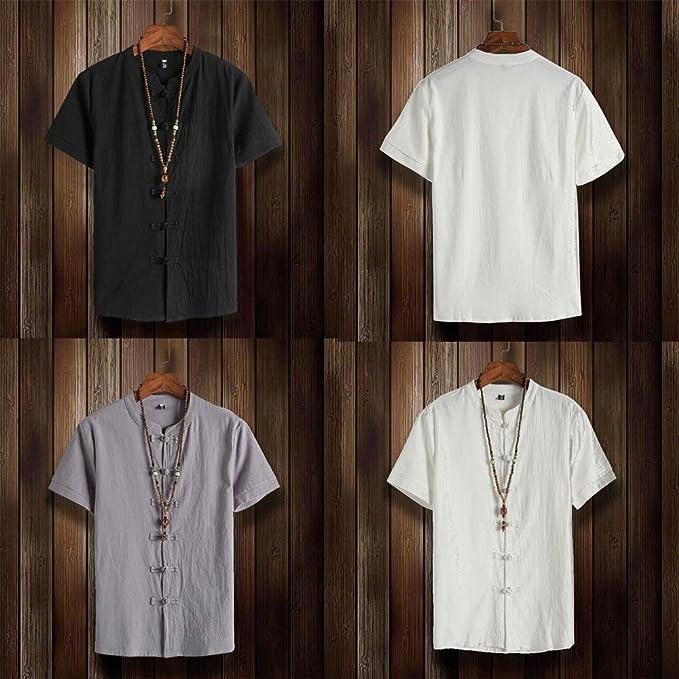 Hombre camiseta T-shirt manga corta,Sonnena ❤ Camisa clásica con botones florales para hombre Tops Blusa de lino manga corta Tang: Amazon.es: Hogar