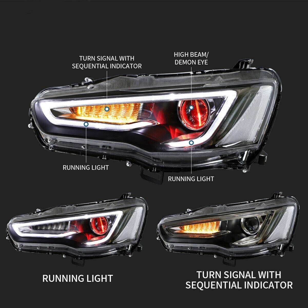 LED Headlights For Mitsubishi Lancer EVO X 2008-2017 Sequential Indicator Dual Beam Front Lamp Assembly