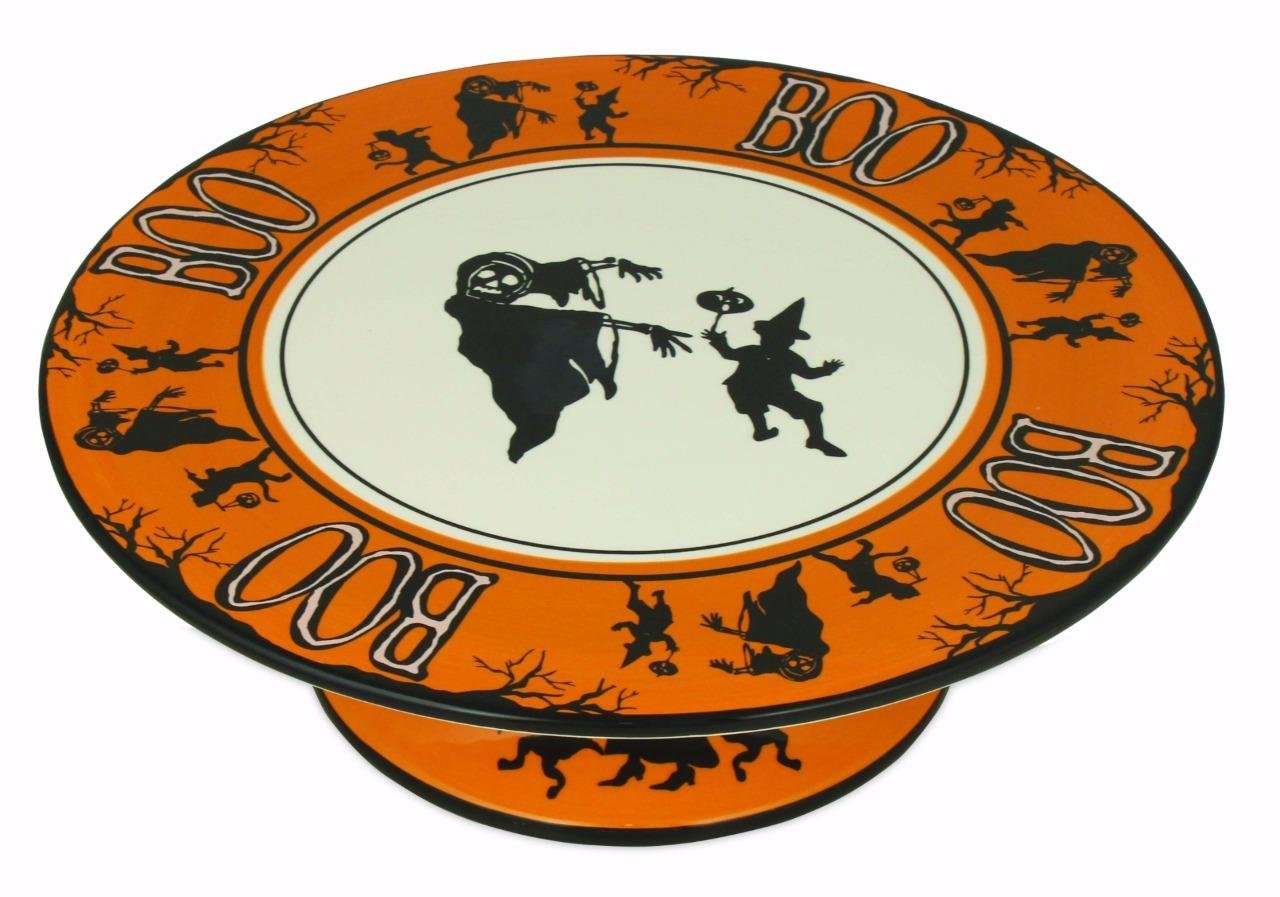 Bethany Lowe Halloween Party Ceramic Cake Plate, Witch, Ghouls, and Boo LC5488