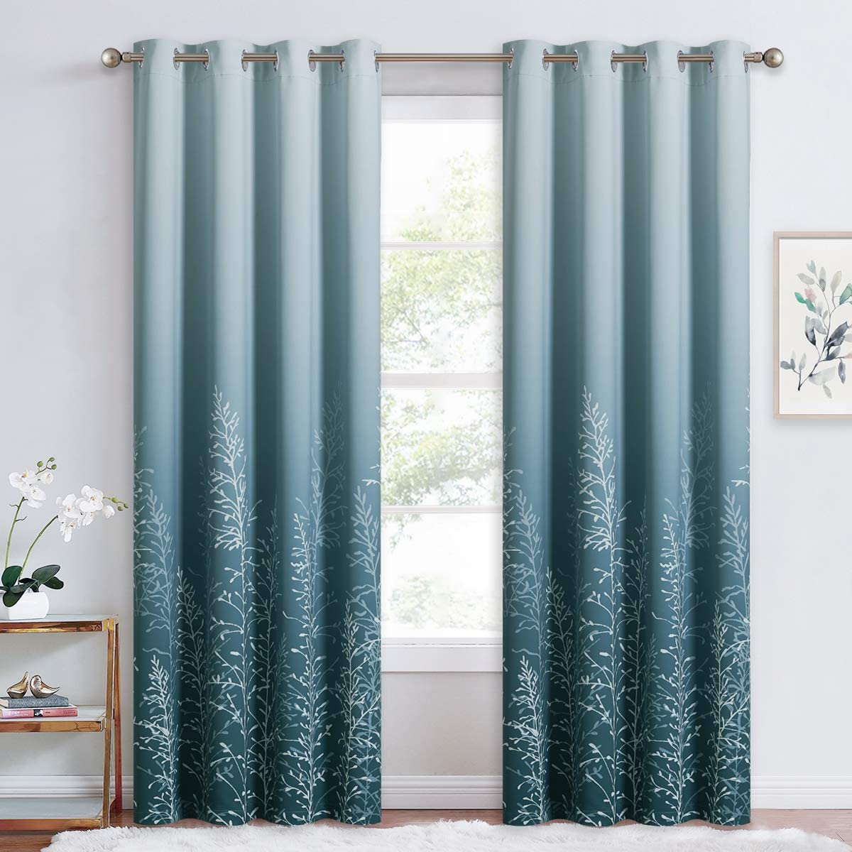 RYB HOME Curtains for Living Room - Nature Inspired Branches Ombre Grommet Curtains for Bedroom Dining Office Window Decor Soundproof Light Block, White and Blue, 52 inch Wide x 84 inch Long, 1 Pair