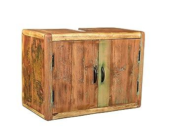 Badezimmermöbel holz rustikal  Woodkings Bad Waschbeckenunterschrank Kalkutta recyceltes Holz bunt ...
