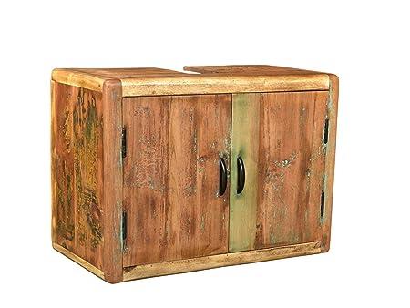 Woodkings Bad Waschbeckenunterschrank Kalkutta Recyceltes Holz Bunt