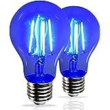 AmeriLuck Cobalt Blue Colored LED Filament A19 Light Bulbs, 40W Equivalent (4W), E26 Medium Base (Blue, 2 Pack)