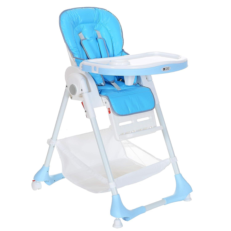 Kinderhochstuhl bis 20 kg Liegeposition Höhenverstellbar Klappbar 5 Punkt-Gurt; Blau