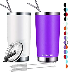 Zonegrace 2 Pack 20oz Insulated Tumbler cups with Lids and Straw, Stainless Steel Vacuum Double Wall Travel Tumbler, Durable Insulated Coffee Travel Mug, Thermal Cup with Splash Proof Sliding lids