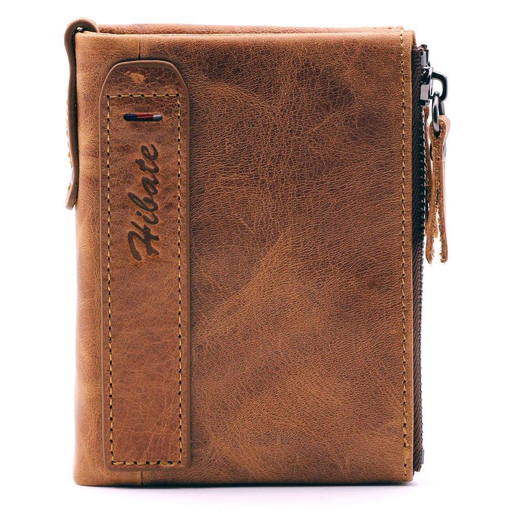 0e7f0488cc0e Hibate Men Leather Wallet RFID Blocking Men s Wallets Credit Card Holder  Coin Pocket Purse