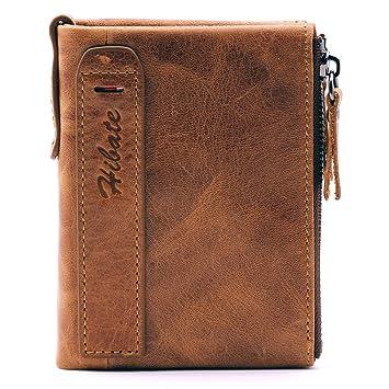 6793ffaab42e16 Hibate Leder Herren Geldbörse mit RFID Schutz, Geldbeutel Portemonnaie,  Herrengeldbeutel Brieftasche, Herrenbörse Portmonee
