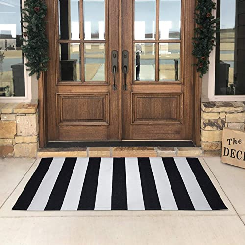USTIDE Cotton Black and White Striped Doormat Area Rug 23.6 x51 Hand Woven Washable Outdoor Rug Layered Doormats for Porch Front Door