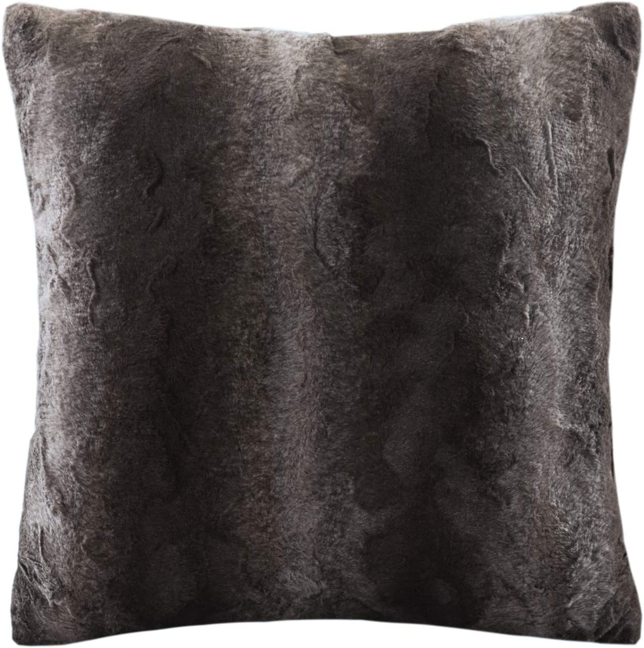 Madison Park Zuri Faux Fur Ombre Stripe Ultra Soft Luxury Decorative Throw Pillows for Couch Bed with Insert, 20x20, Chocolate