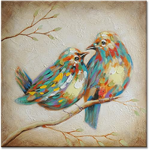 SEVEN WALL ARTS – 100 Hand Painted Modern Vintage Art Animal Colorful Quirky Birds Painting with Stretched Frame Wall Art for Home Decor Ready to Hang 24 x 24 Inch
