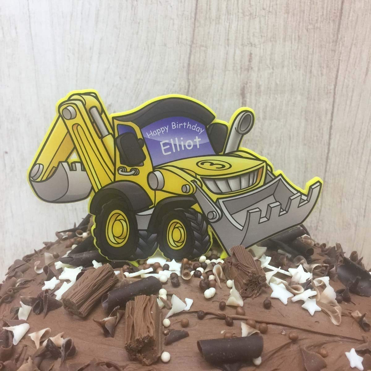 Excellent Digger Birthday Cake Topper Boys Construction Builder Theme Funny Birthday Cards Online Elaedamsfinfo
