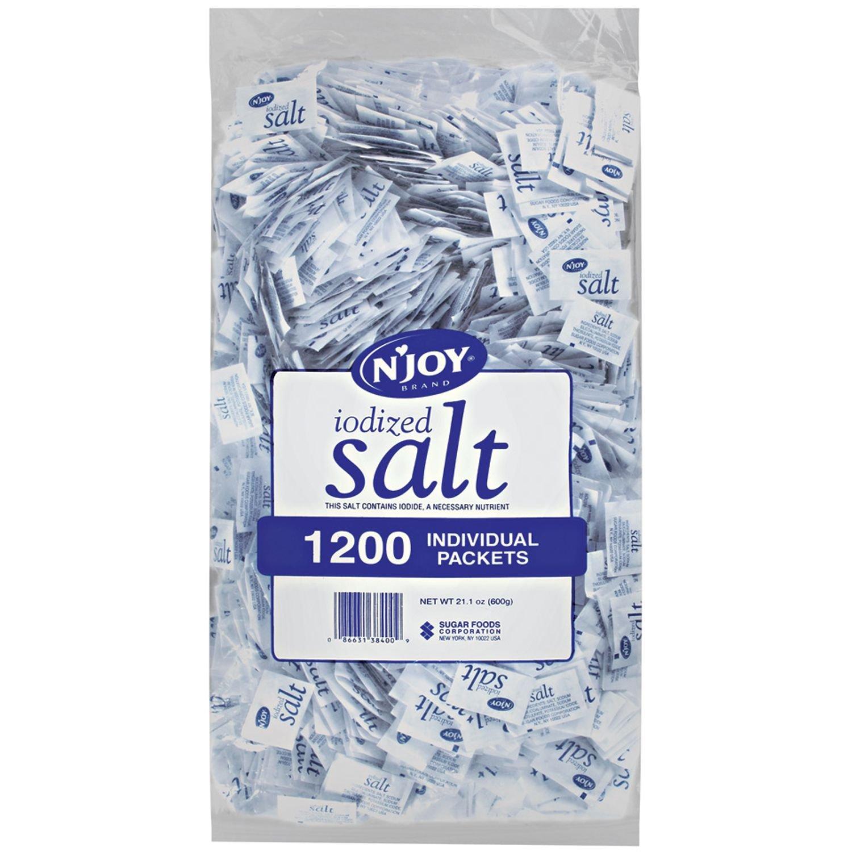 N'JOY Iodized Salt - 1, 200 ct. .5 gm Packets : Table Salt : Grocery & Gourmet Food