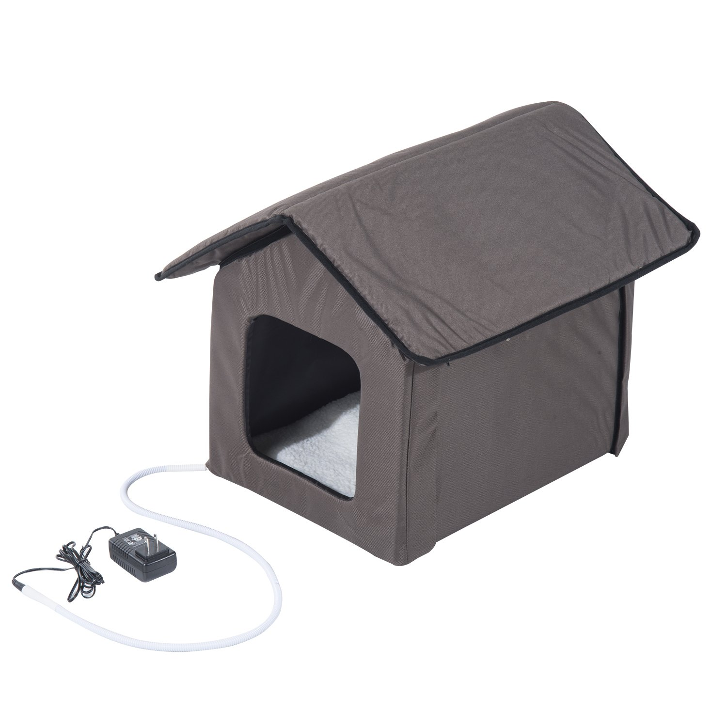 PawHut Small Indoor Outdoor Portable Water Resistant Heated Cat House - Brown by PawHut