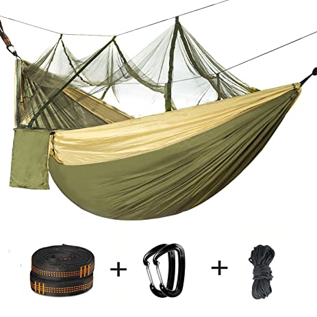 double camping hammock with mosquito     2 person parachute hammock lightweight portable hammock with tree amazon    double camping hammock with mosquito     2 person      rh   amazon