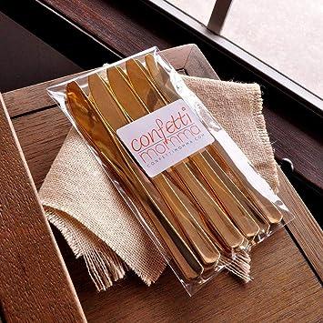 Plástico dorado cuchillos 25 ct. Plástico Oro Que Parece real. Cubertería cubiertos de plástico de oro.: Amazon.es: Hogar