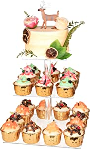"YestBuy 3 Tier Cupcake Stand, Cake Stand, Acrylic Cupcake Tower Stand, Premium Cupcake Holder for 28 Cupcakes, Display for Pastry Wedding Birthday Party (6"" Between 2 Layers)"