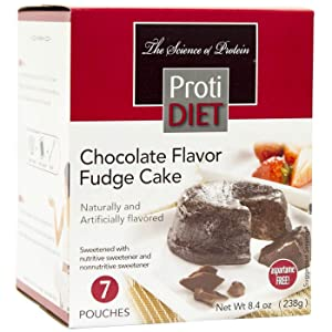 ProtiDiet Dessert - Chocolate Fudge Cake - 7 Servings - High Protein 15g - Low Calorie - Low Fat - Ideal Protein Compatible