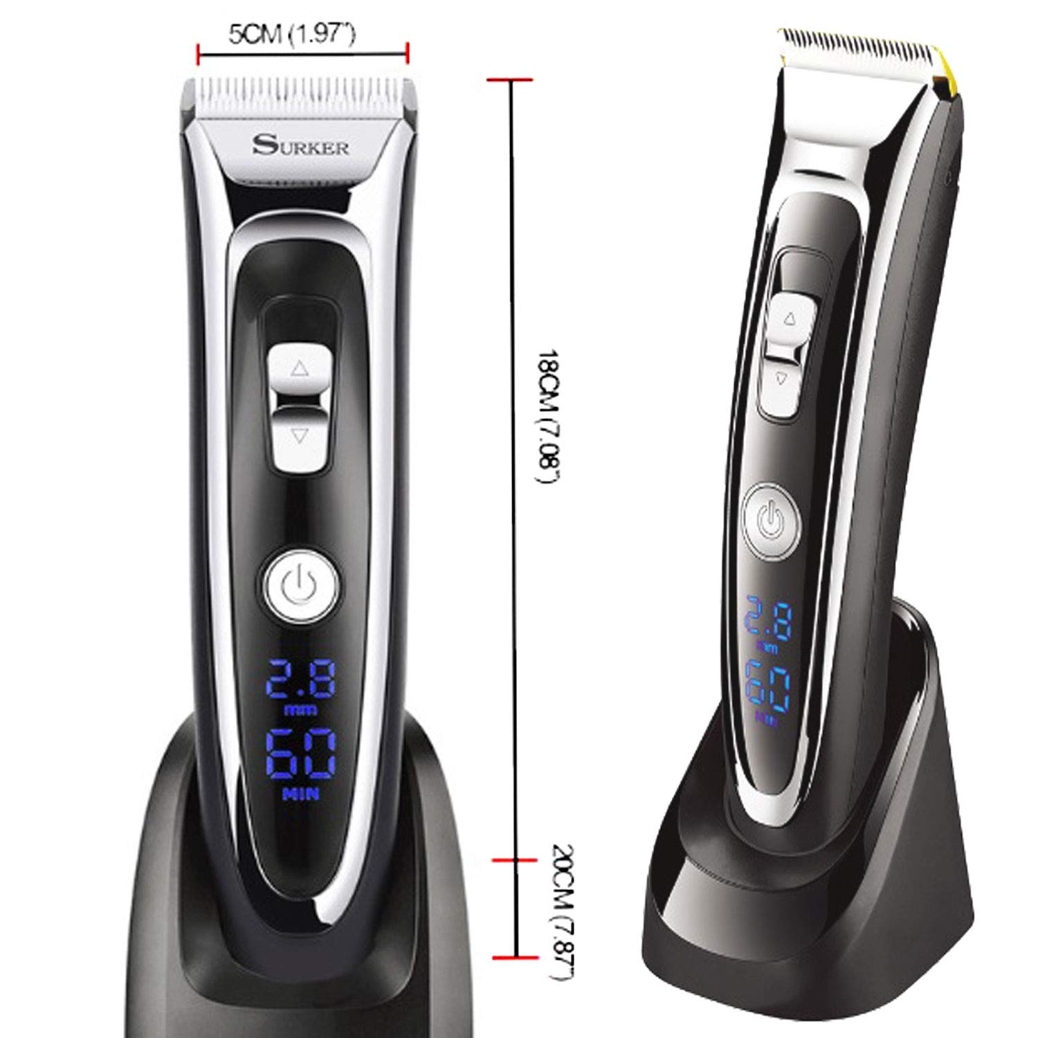 Professional Hair Clipper Cordless Clippers Hair Trimmer Beard Shaver Electric Haircut Kit Ceramic Blade Waterproof Rechargeable Battery LED Display for Men and Family Use with 2 Barber Scissors and 1 Barber Cape Cloth