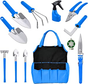 BNCHI Gardening Tools Set,12 Pieces Stainless Steel Garden Hand Tool, Gardening Gifts for Women,Men,Gardener (Blue)