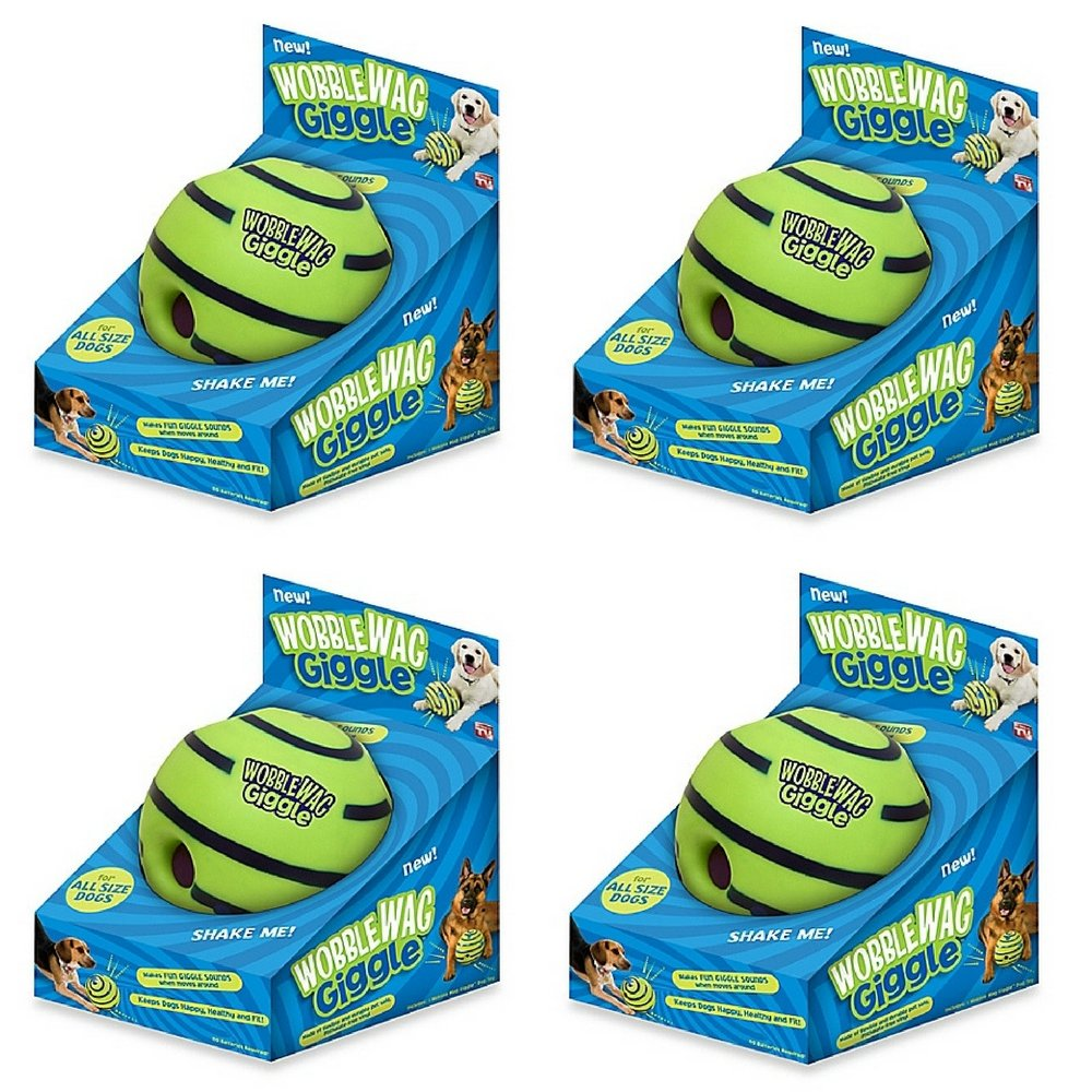 Wobble Wag Giggle Ball Dog Toy (4 pack)