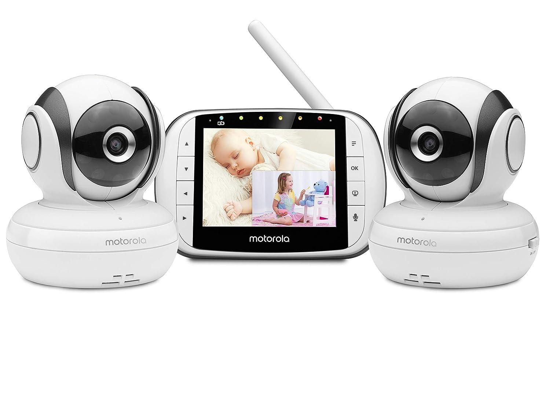 "Motorola MBP36S-2 Video Baby Monitor -Two Cameras, 3.5"" LCD Color Screen Display, 2-Way Audio -Remote Pan, Tilt, Zoom, Infrared Night Vision -5 Lullabies, Room Temperature Display, 1000ft Range"