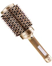 Number-One Round Hair Brush Nano Thermal Ceramic Ionic Hair Brush Boar Bristle Brush for Blow Drying Styling Curling Straightening, Increasing Hair Volume and Shine(2.1in)