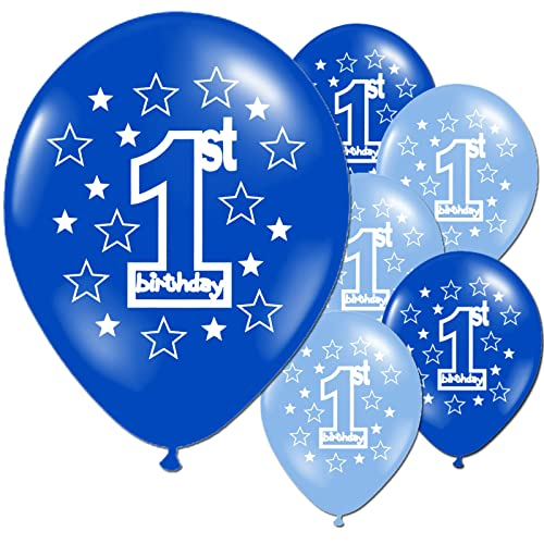 10 Blue Boy's 1st Birthday Printed Pearlised Party Balloons