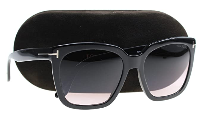 704ba11b17 Tom Ford FT0502 Amarra Sunglasses Shiny Black w Red Gradient Lens ...