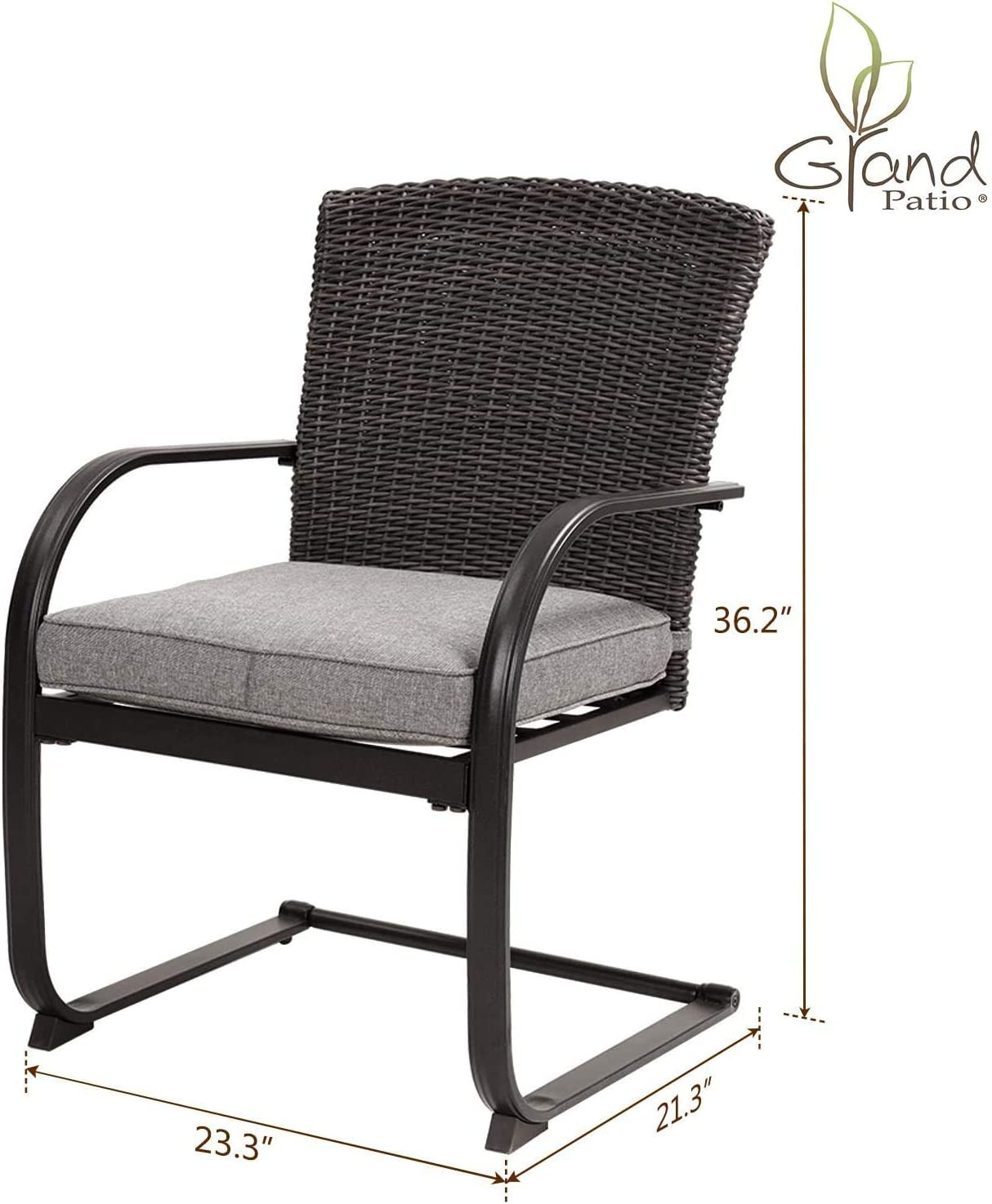 Grand patio Spring Motion Patio Dining Wicker Chairs Set of 2 Outdoor Deck Garden Pool Backyard Metal Chair with Grey Cushion