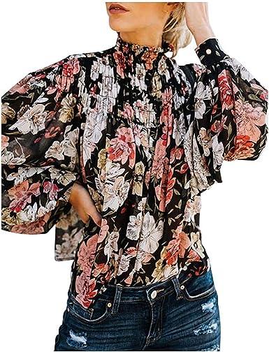 Camiseta de Mujer Elegantes Blusa de Manga Larga de Fiesta Camisetas de Floral Imprimiendo Suelto Camisas de Tallas Grandes Casual Camiseta Fiesta Camisetas Tops Otoño Camiseta Playa y Fiesta MOVERV: Amazon.es: Ropa