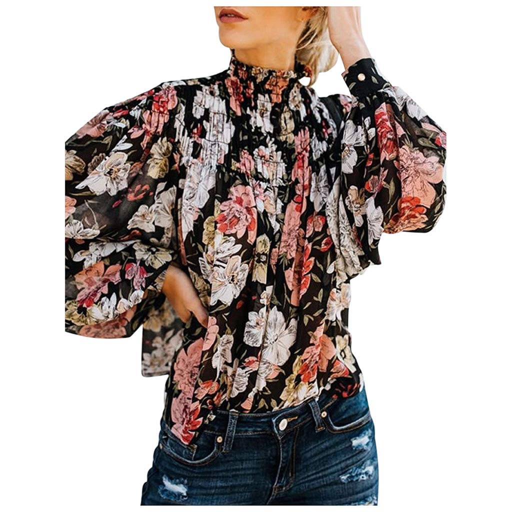 Women Casual High Neck Shirt Long Sleeve Sweatshirt Floral Print Button Tops Blouse,Ladies Baggy Loose Fashion Tees 2019 New Look for Party School Work