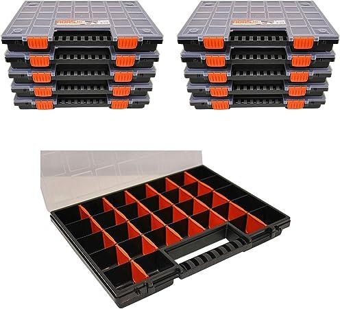Nors16 Lot De 10 Boites De Rangement Pour Vis Avec Compartiments Variables Format Ca 399 X 303 X 50 Mm Amazon Fr Bricolage