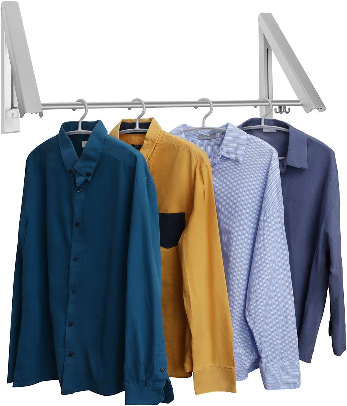 LECDDL Retractable Clothes Racks - Laundry Hangers Wall Mount - Wall Mounted Folding Clothes Hanger Drying Rack - Waterproof Indoor Outdoor Wall Mounted Clothes Hanger, 2 Racks with Rod