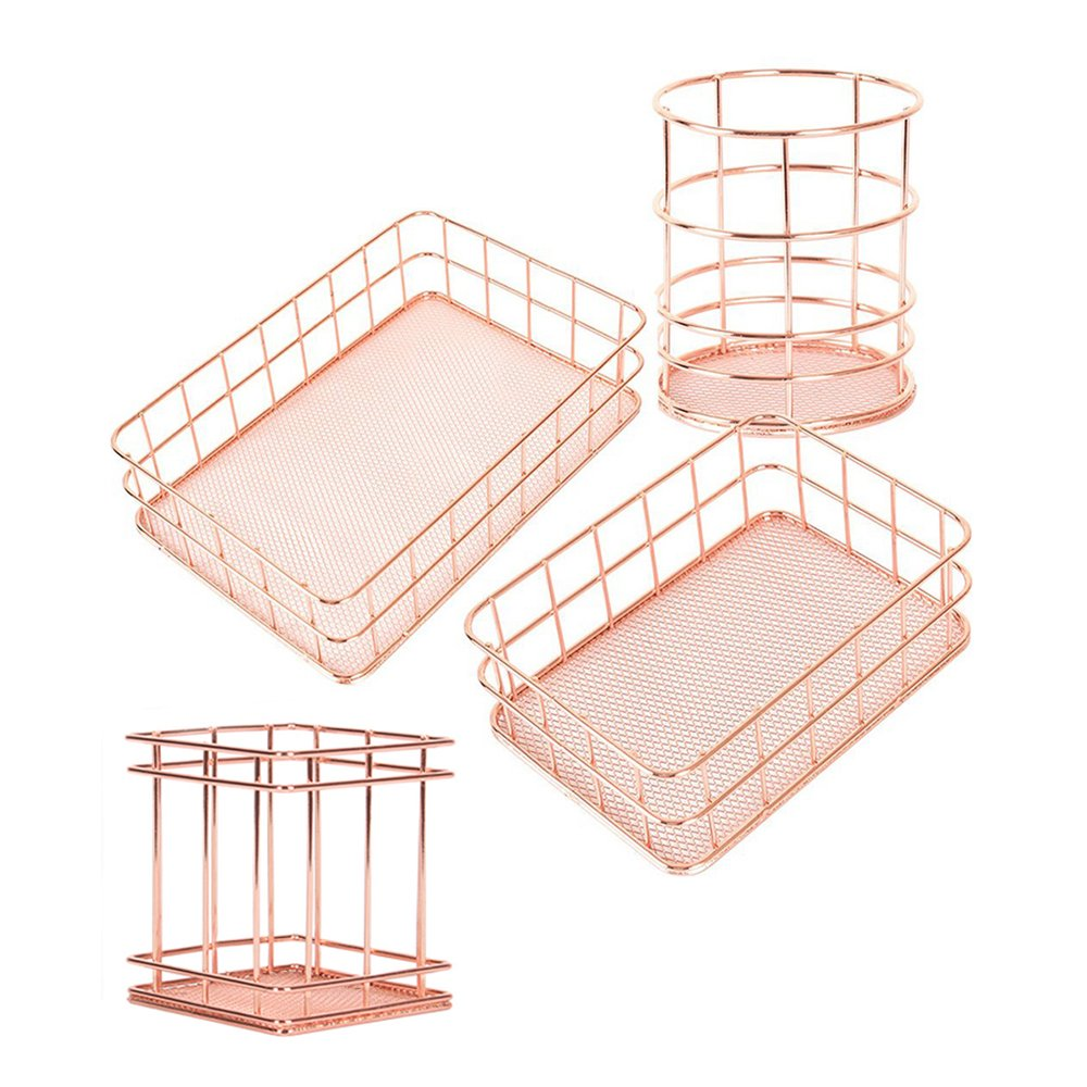 Essential Oil Makeup Brushes Tableware and Letter Tray Yhouse Countertop Organizer for Pencil Cup Metal Wire Mesh Basket 4 in 1 Desk Storage Set