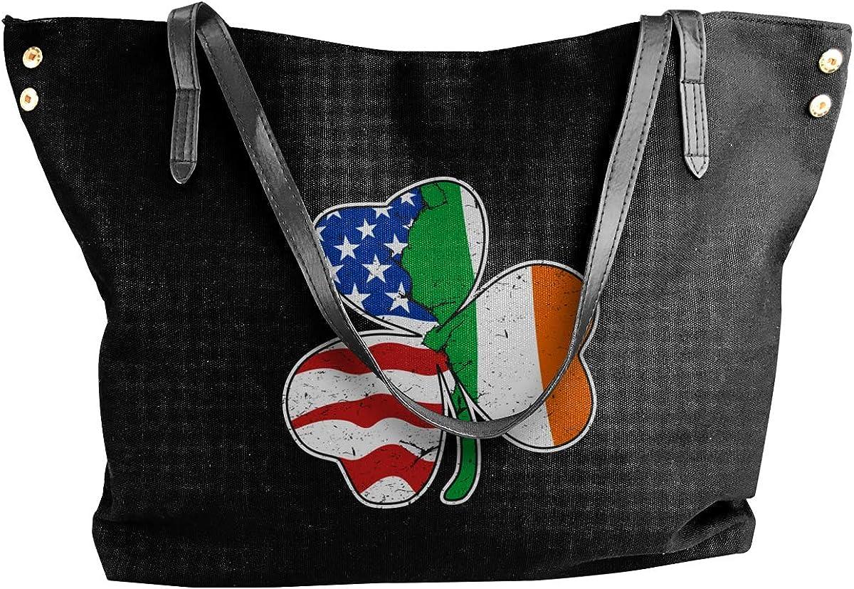 Shamrock Irish American Womens Tote Bags Canvas Shoulder Bag Casual Handbags