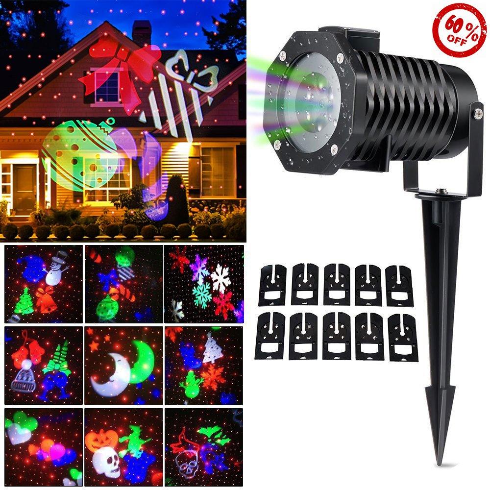 CM-Light LED Laser Projector Light,Holiday Christmas Outdoor Snowflakes Lamp Decoration,10 Slides LED Moving Landscape Spotlight,Party Festival Home Decor Garden Tree
