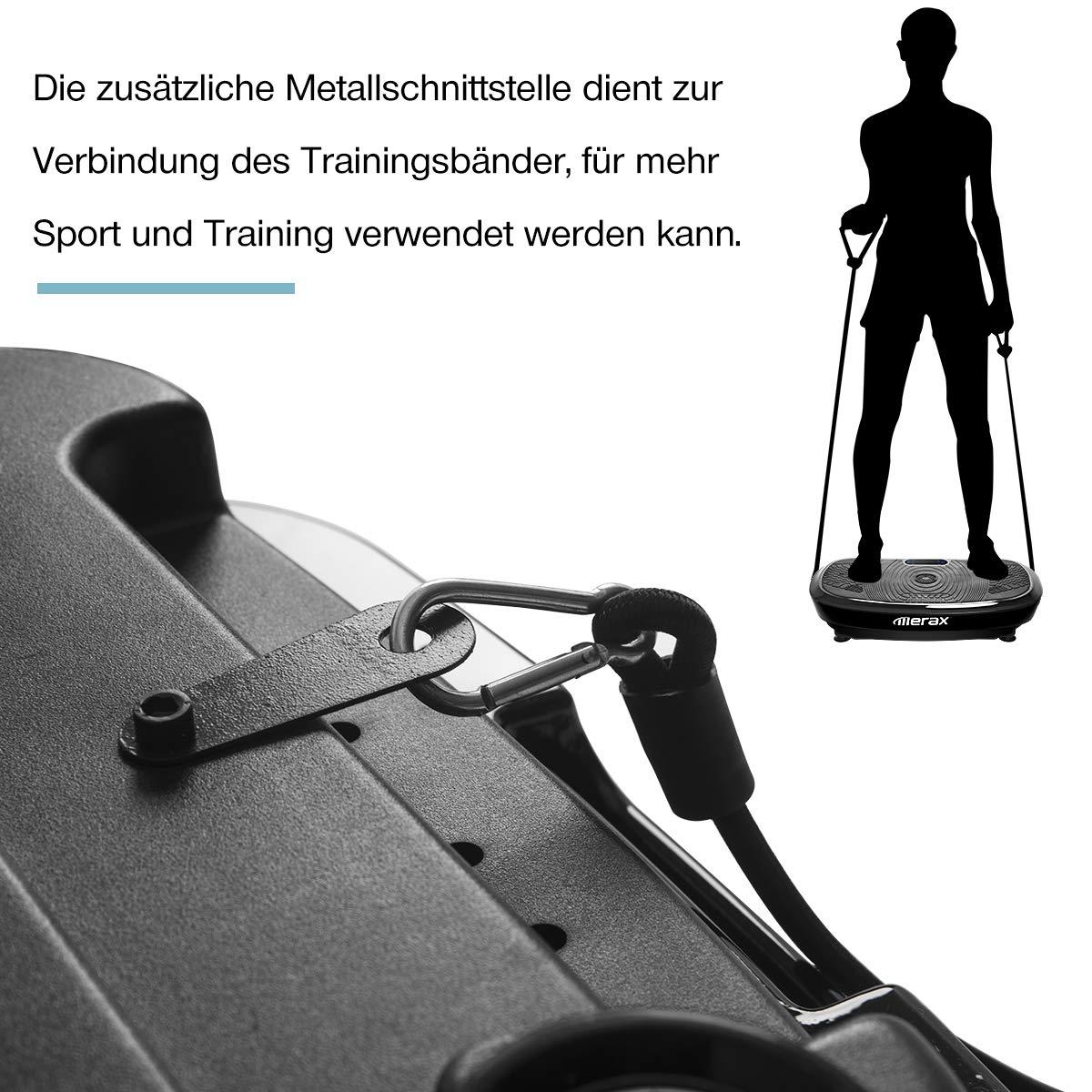 Ganzk/örper Trainingsger/ät mit 2x200W Motoren Trainingsb/änder Fernbedienung Merax Profi Vibrationsplatte mit 3D Wipp Vibrations Technologie Riesige Fl/äche Bluetooth Musik
