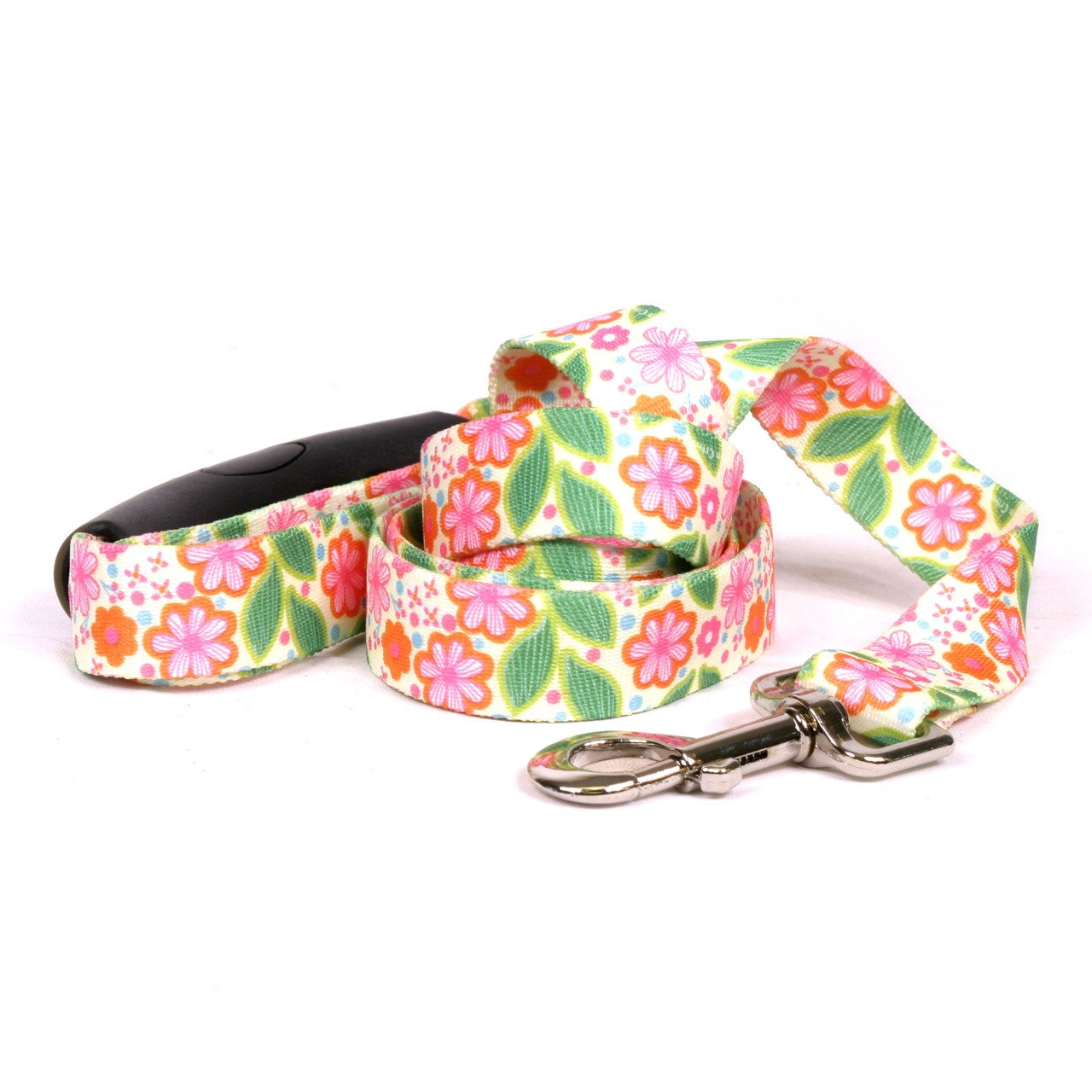 Yellow Dog Design Flower Patch Ez-Grip Dog Leash with Comfort Handle 1'' Wide and 5' (60'') Long, Large