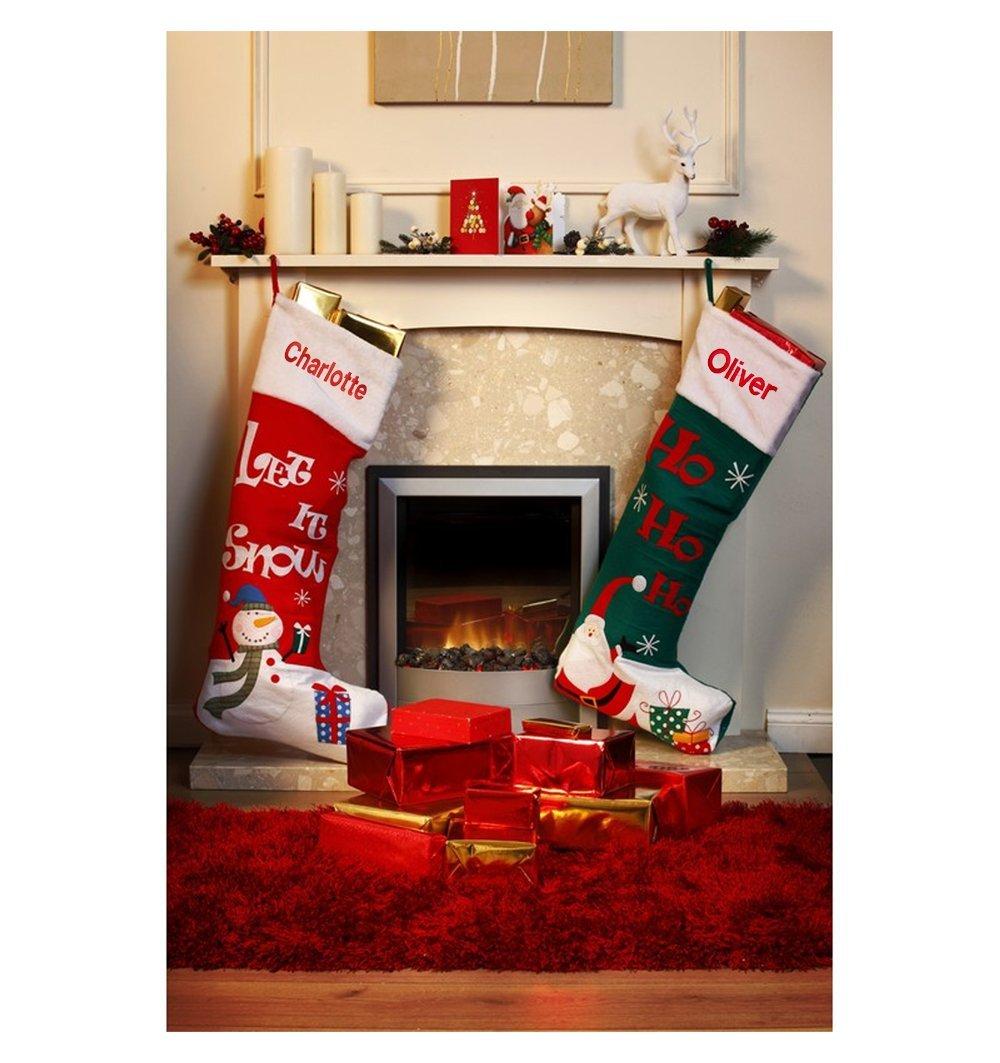 Personalised Extra Large Christmas Stocking Green: Amazon.co.uk ...