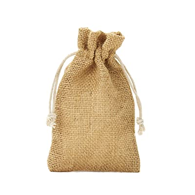 5 bolsas de yute con cordón de algodón. Tamaño: 50x40 cm, 100% yute, decoración invernal, envoltorio de regalos de navidad (natural): Juguetes y juegos
