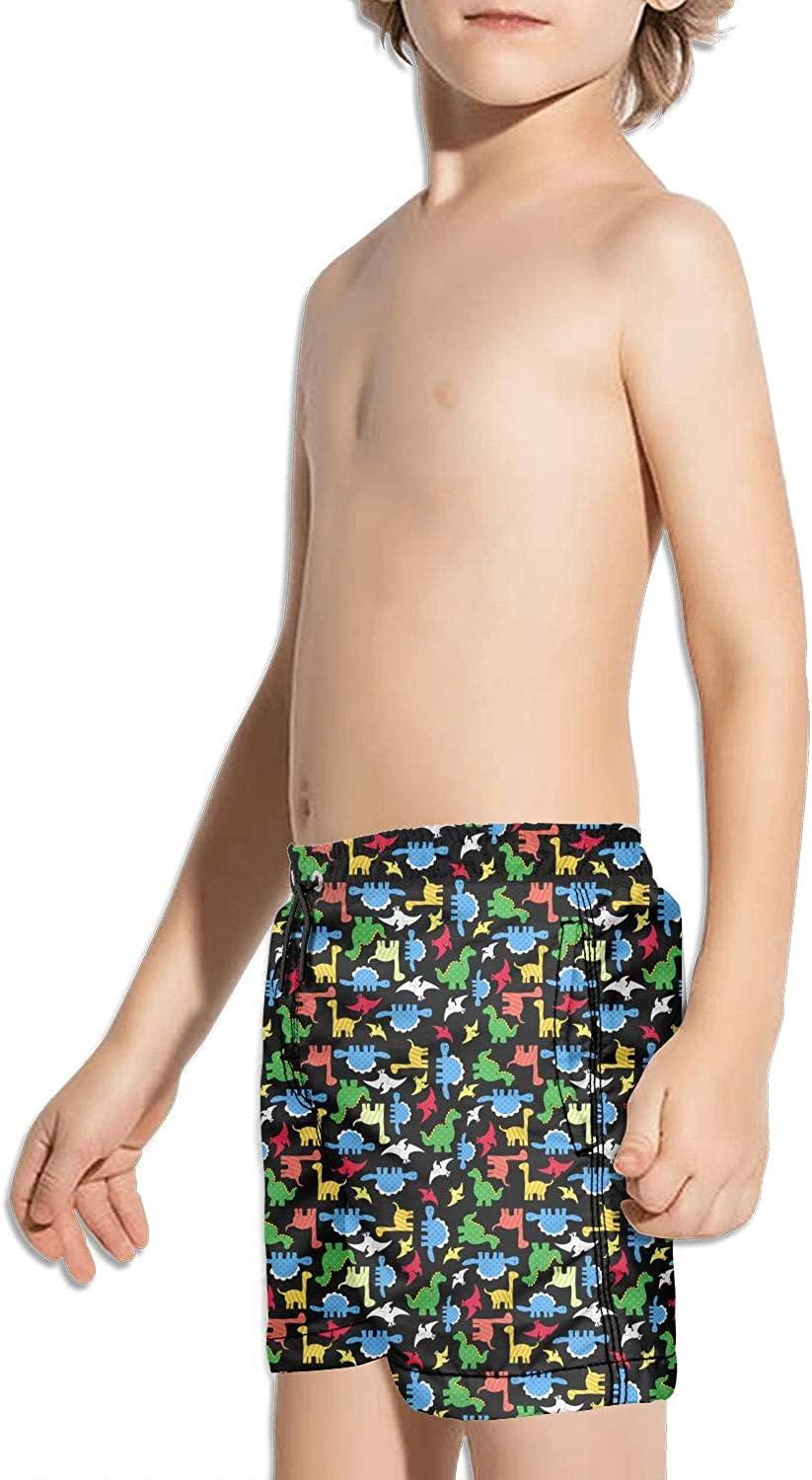 Colorful Dinosaurs Black Background Childrens Beach Pants Board Shorts Jogging Casual Sport Floral Shorts