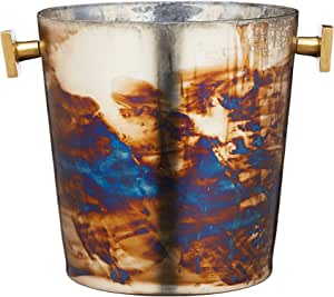 BarCraft Mercurial Glass Ice Bucket with Zinc Fired Finish