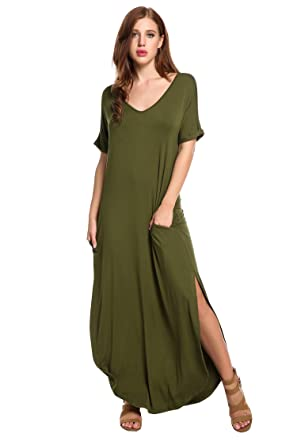 354e9c9d22988 Meaneor Women Summer V Neck Rolled-Cuff Loose Pockets Tshirt Split Maxi  Dress