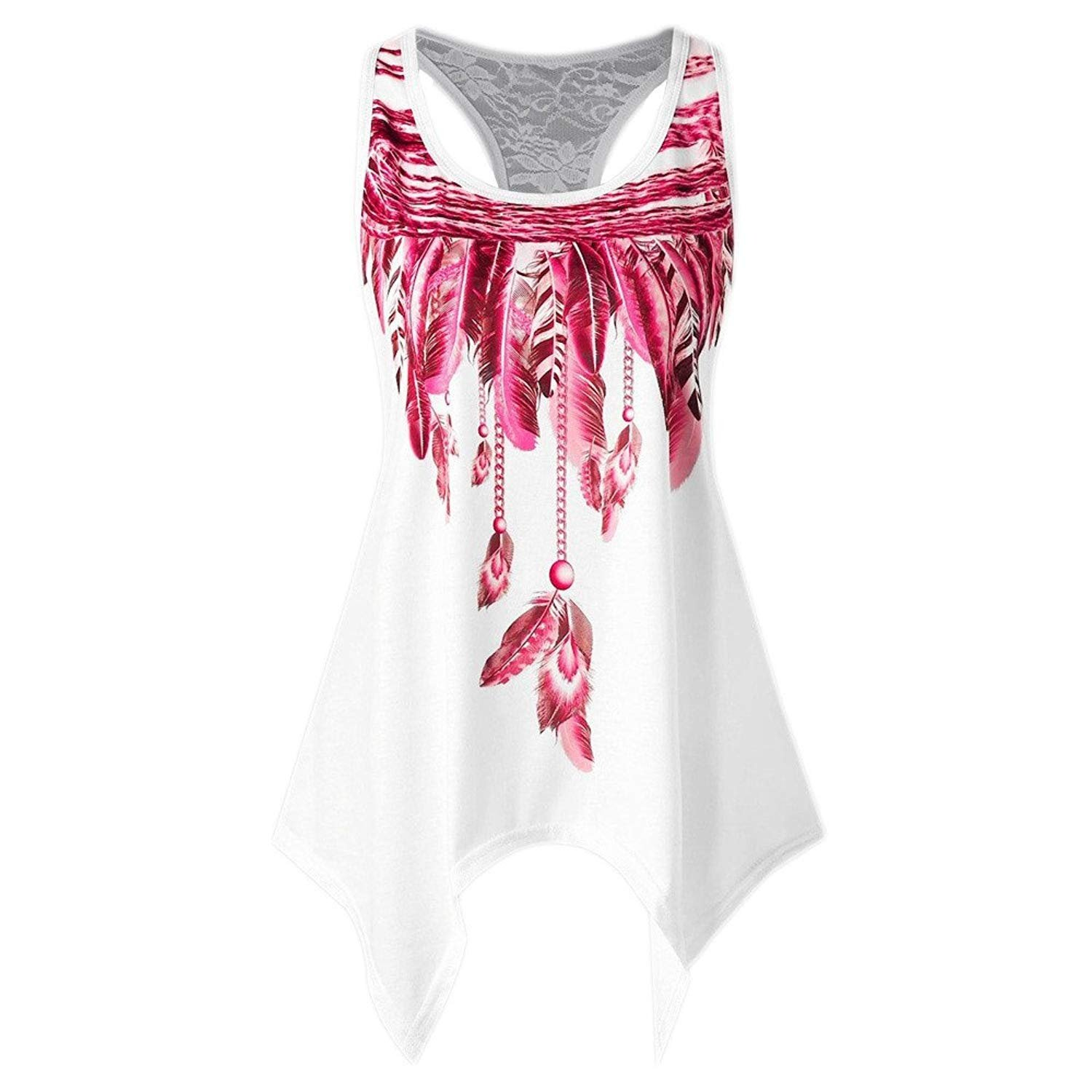 POTO Tank Tops for Women,2018 Fashion Summer Sleeveless Asymmetrical Feather Print Vest Crop Top Blouse Shirts Camisoles (S, Style 1 : Red)