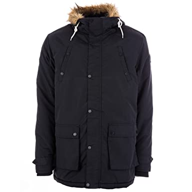 Henleys Men's Informa Faux Fur Hooded Padded Parka Coat Black at ...