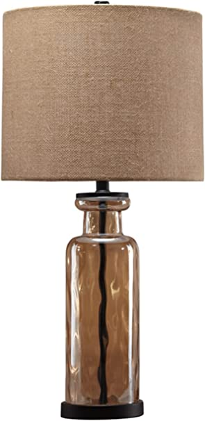 Signature Design By Ashley Laurentia Glass Table Lamp With Drum Shade Champagne Toned Home Improvement