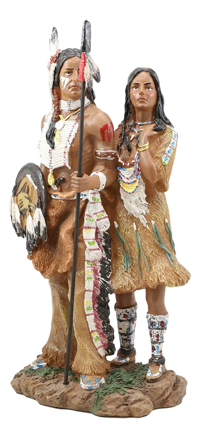 """Ebros Gift Colorful Hand Painted Proud Tribal Native American Indian Couple Statue Eagle Warrior Spear Hunter Husband and Wife Family Decorative Figurine 12.5"""" Tall As Indian Heritage Decor Sculpture"""