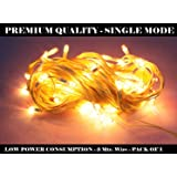 Right Traders Plastic Rice Lights Serial Bulbs Ladi Decoration for Diwali | Christmas | Navratri & for All Festive Occasion| Single Mode | Yellow Color Light | Continue Burning (3 Mtr) - (Pack of 1)